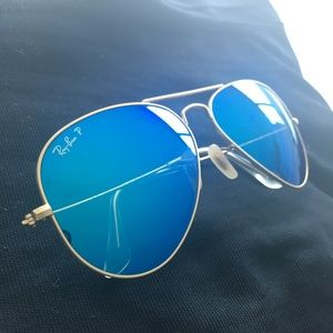 RAY-BAN Blue Reflective Gold Frame Aviators RB3025